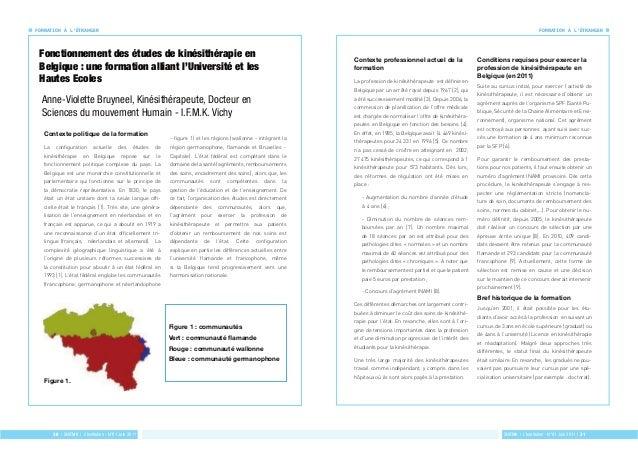 FORMATION À L'ÉTRANGER FORMATION À L'ÉTRANGER  Fonctionnement des études de kinésithérapie en  Belgique : une formation al...