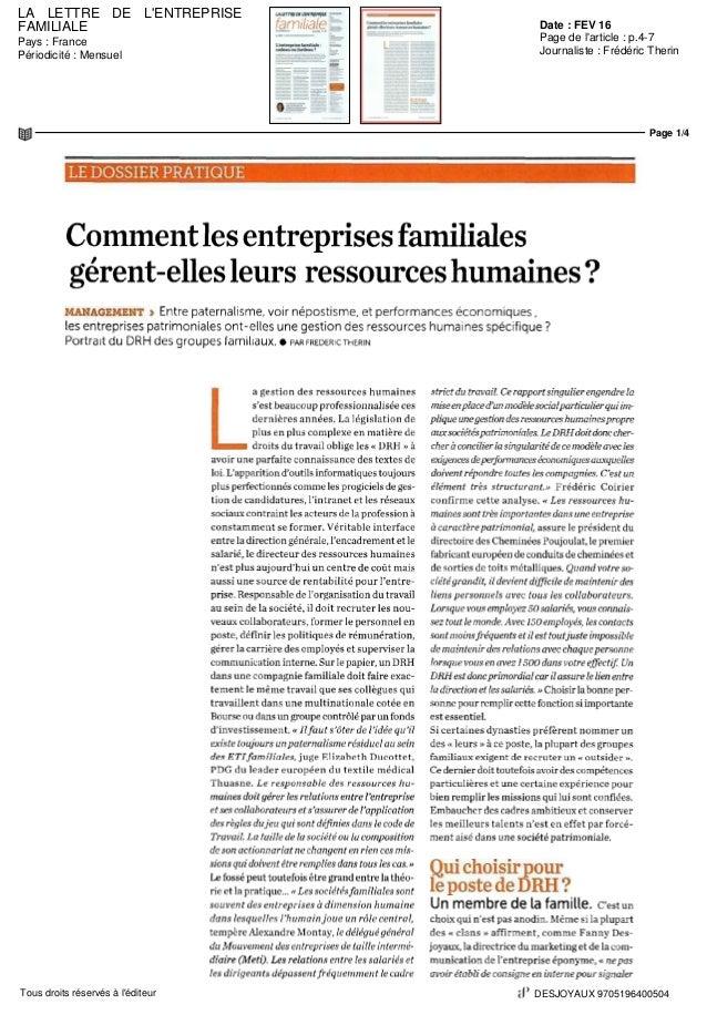 LA LETTRE DE L'ENTREPRISE FAMILIALE Date : FEV 16 Pays : France Périodicité : Mensuel Page de l'article : p.4-7 Journalist...