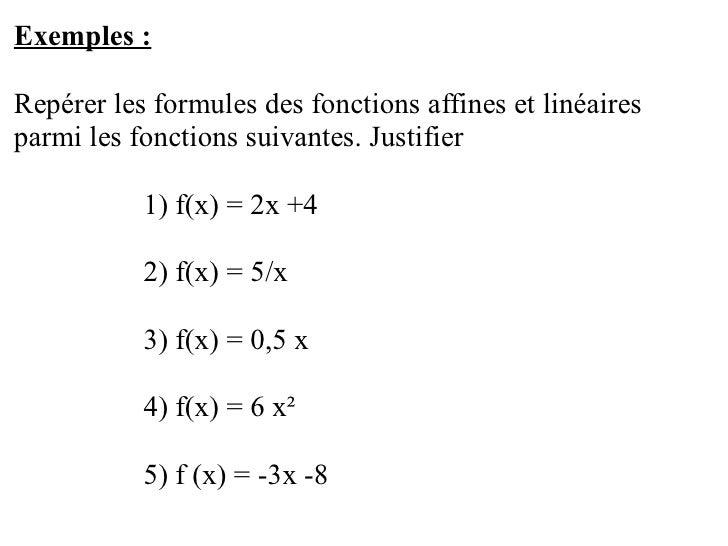 Fonctions LinéAires Et Affines Slide 3