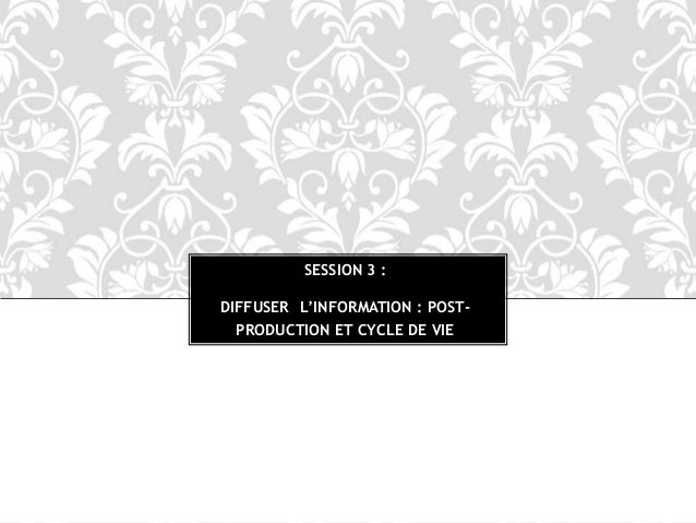 SESSION 3 : DIFFUSER L'INFORMATION : POST- PRODUCTION ET CYCLE DE VIE