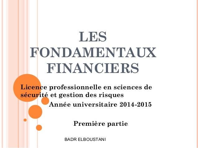 LES FONDAMENTAUX FINANCIERS Licence professionnelle en sciences de sécurité et gestion des risques Année universitaire 201...