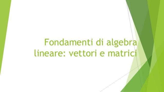 Fondamenti di algebra lineare: vettori e matrici