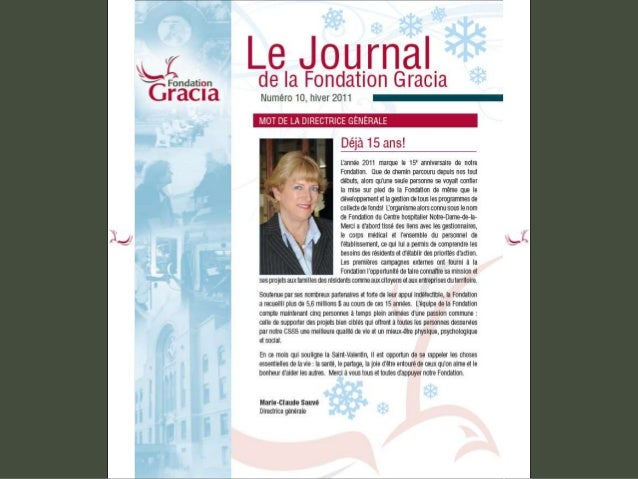 Journal de la Fondation Gracia - Numéro 10