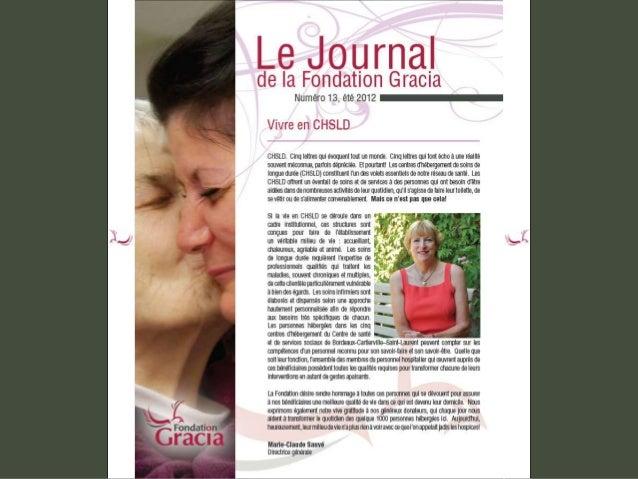 Journal de la Fondation Gracia - Numéro 13