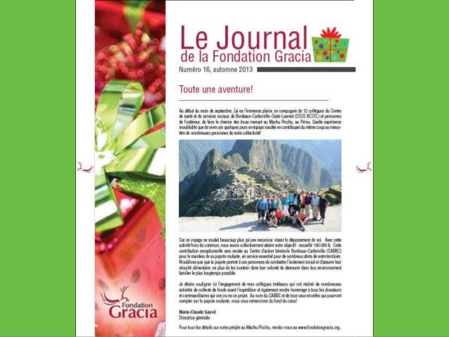 Journal de la Fondation Gracia - Numéro 16