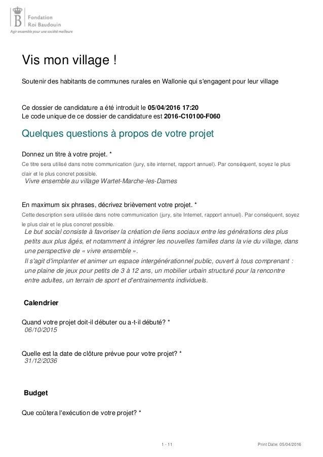 Vis mon village ! Soutenir des habitants de communes rurales en Wallonie qui s'engagent pour leur village Ce dossier de ca...