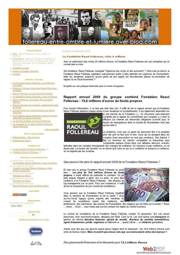 Présentation                       Vendredi 10 septem bre 2010    Blog : Raoul Follereau, entre om bre et    lum iere.    ...