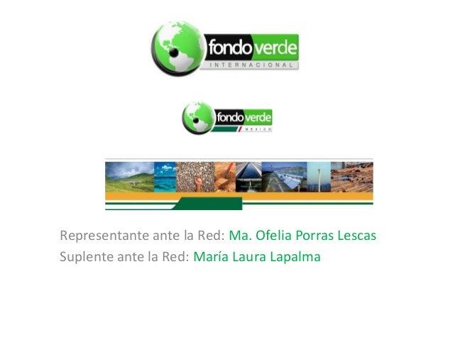 Representante ante la Red: Ma. Ofelia Porras Lescas Suplente ante la Red: María Laura Lapalma