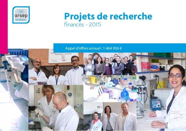 Projets de recherche financés - 2015 Appel d'offres annuel : 1 464 956 €