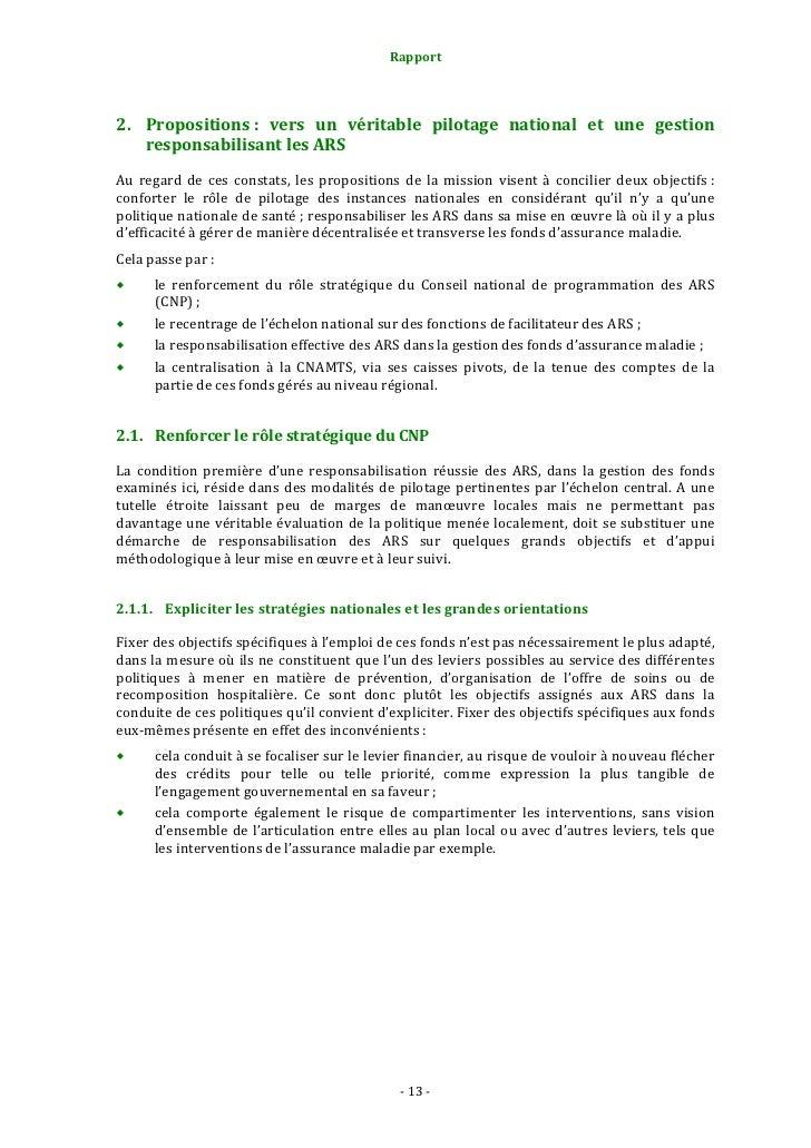 Rapport                                                        2.1.1.3. Assurer l'articulation ÉtatAssurance maladie...