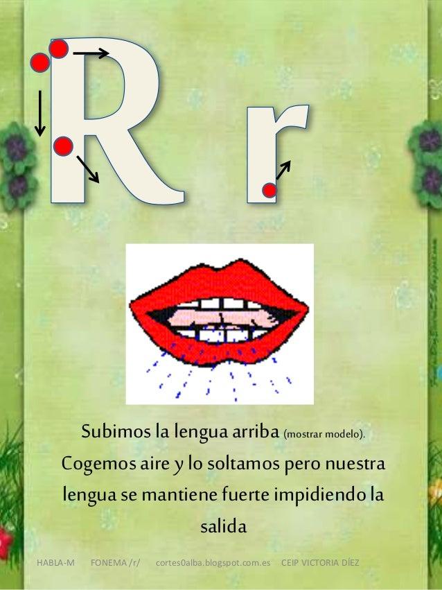 HABLA-M FONEMA /r/ cortes0alba.blogspot.com.es CEIP VICTORIA DÍEZ Subimos la lenguaarriba (mostrar modelo). Cogemos aire y...