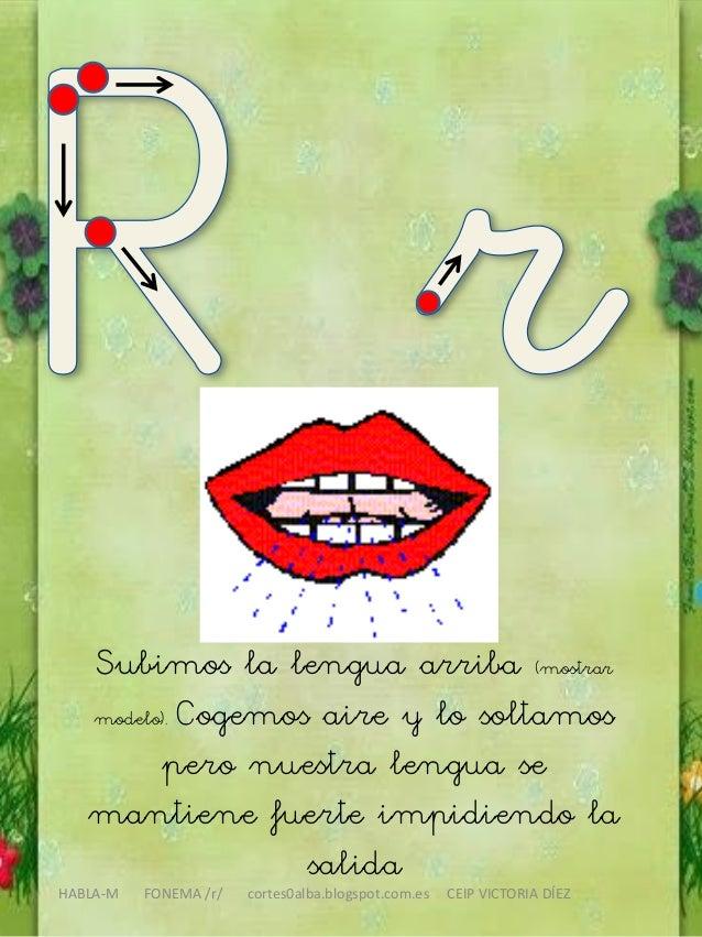 HABLA-M FONEMA /r/ cortes0alba.blogspot.com.es CEIP VICTORIA DÍEZ Subimos la lengua arriba (mostrar modelo). Cogemos aire ...
