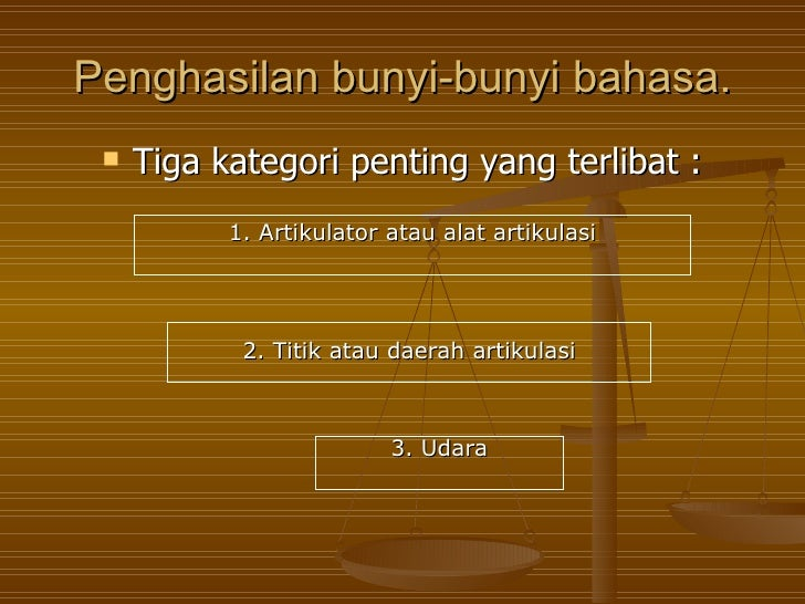 Penghasilan bunyi-bunyi bahasa.    Tiga kategori penting yang terlibat :           1. Artikulator atau alat artikulasi   ...