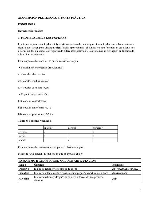 ADQUISICIÓN DEL LENGUAJE. PARTE PRÁCTICA FONOLOGÍA Introducción Teórica 1. PROPIEDADES DE LOS FONEMAS Los fonemas son las ...