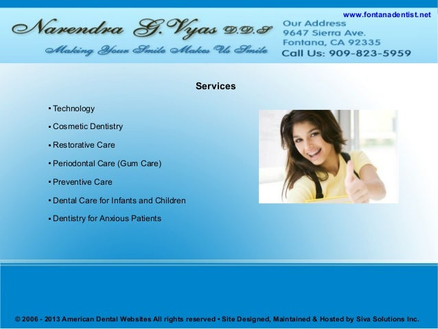 Cosmetic Dentist Fontana   Affordable Dentist Fontana   Cosmetic Dentistry Fontana   Preventive Care Fontana   Dental Implants Fontana Slide 3