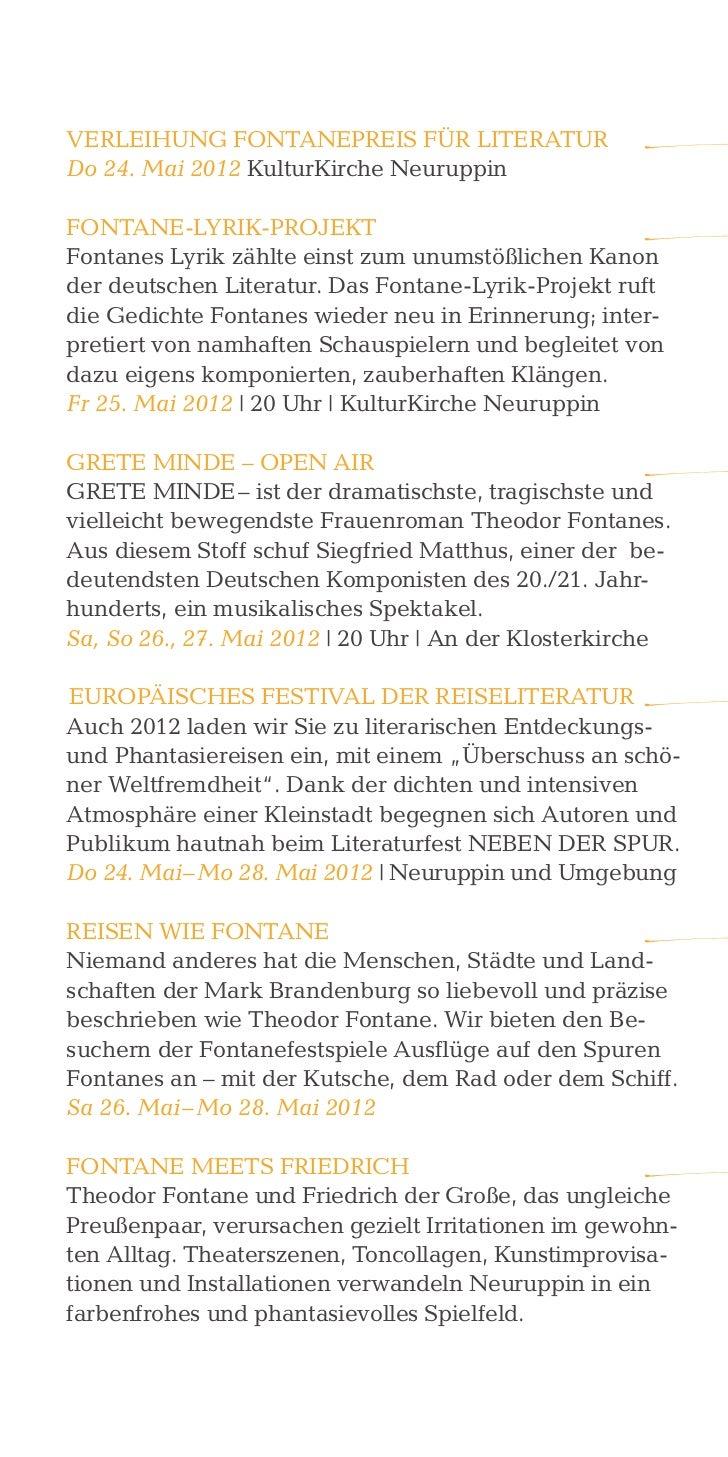 VerLeiHunG FontanepreiS Für LiteraturDo 24. Mai 2012 KulturKirche neuruppinFontane-LyriK-proJeKtFontanes Lyrik zählte eins...