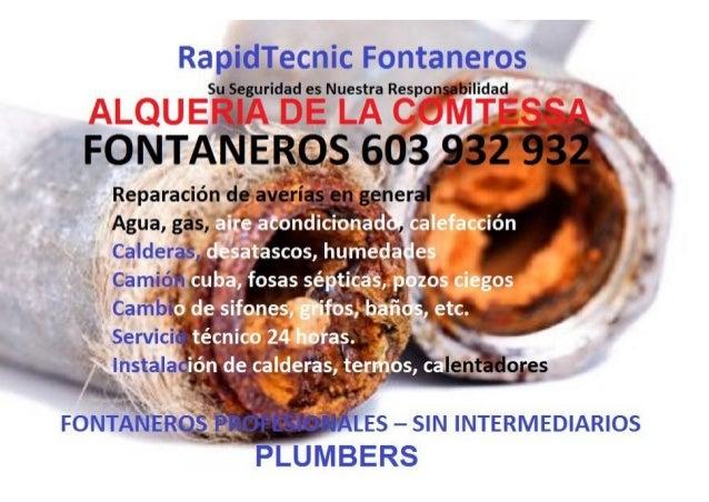 Fontaneros Alqueria de la Comtessa 603 932 932