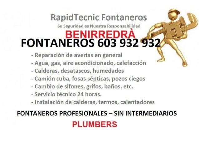 Fontaneros Benirredra 603 932 932