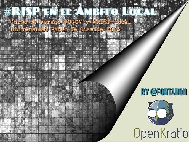 RISP en el Ámbito Local# Curso de verano #OGOV y #RISP LocalCurso de verano #OGOV y #RISP Local Universidad Pablo de Olavi...