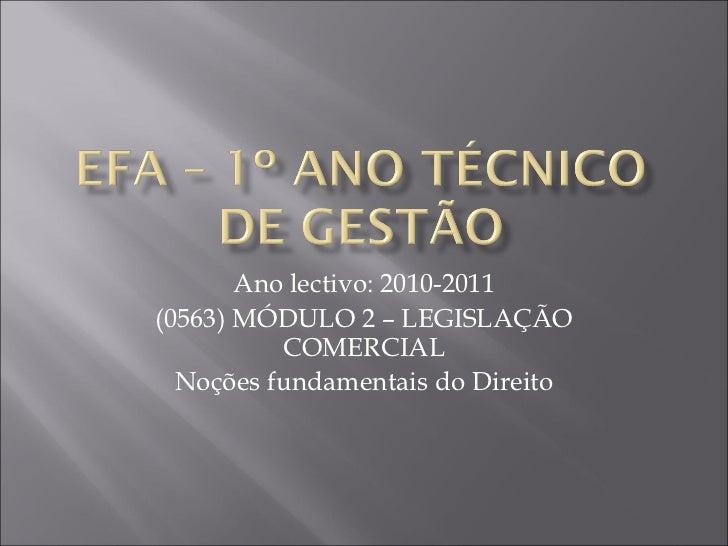 Ano lectivo: 2010-2011(0563) MÓDULO 2 – LEGISLAÇÃO          COMERCIAL  Noções fundamentais do Direito