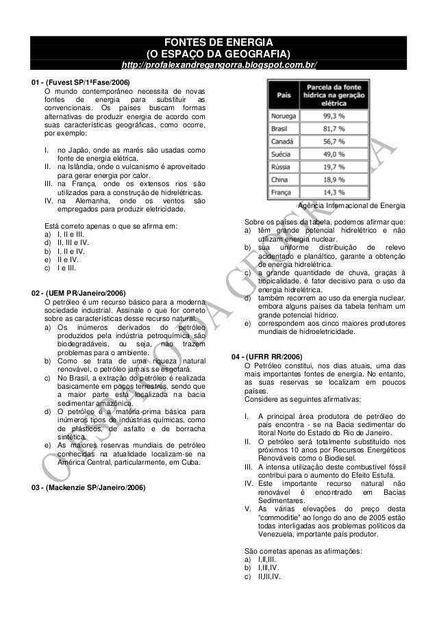FONTES DE ENERGIA (O ESPAÇO DA GEOGRAFIA) http://profalexandregangorra.blogspot.com.br/ 01 - (Fuvest SP/1ªFase/2006) O mun...
