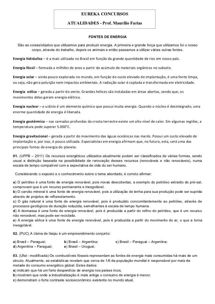 EUREKA CONCURSOS                                 ATUALIDADES - Prof. Maurílio Farias                                      ...
