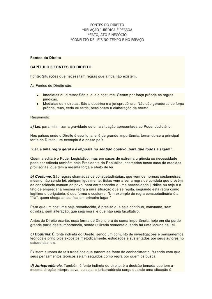 FONTES DO DIREITO                              *RELAÇÃO JURÍDICA E PESSOA                                 *FATO, ATO E NEG...