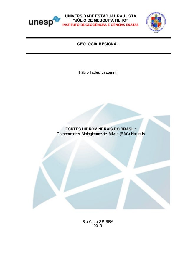 """UNIVERSIDADE ESTADUAL PAULISTA """"JÚLIO DE MESQUITA FILHO"""" INSTITUTO DE GEOCIÊNCIAS E CIÊNCIAS EXATAS Fábio Tadeu Lazzerini ..."""