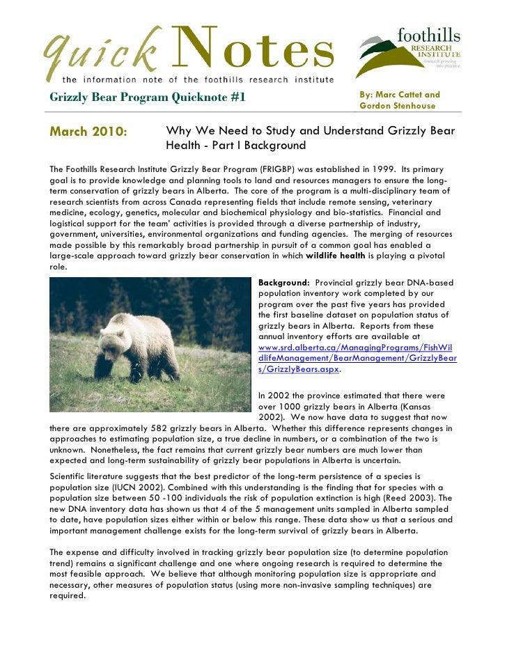 Ggg ggggggggg stelitca tsteast shstirngnrl gheistingl theiengi fhidld     Grizzly Bear Program Quicknote #1               ...