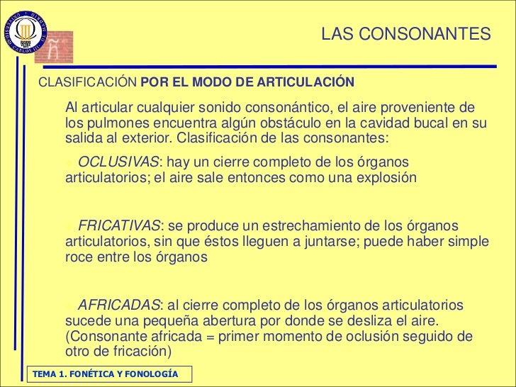 LAS CONSONANTES   CLASIFICACIÓN POR EL MODO DE ARTICULACIÓN       Al articular cualquier sonido consonántico, el aire prov...