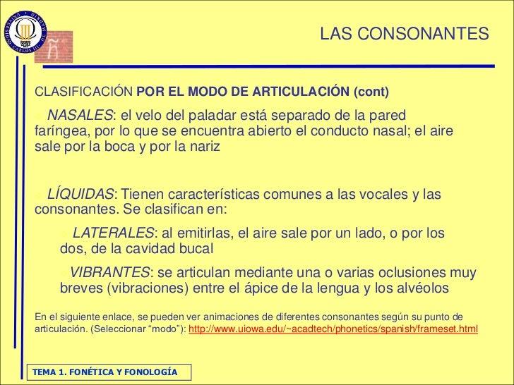 LAS CONSONANTES   CLASIFICACIÓN POR EL MODO DE ARTICULACIÓN (cont)  NASALES: el velo del paladar está separado de la pare...