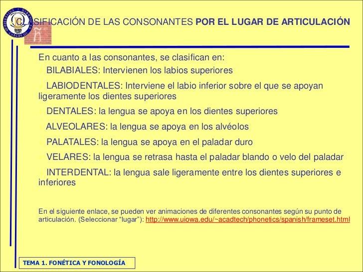    CLASIFICACIÓN DE LAS CONSONANTES POR EL LUGAR DE ARTICULACIÓN            En cuanto a las consonantes, se clasifican en...