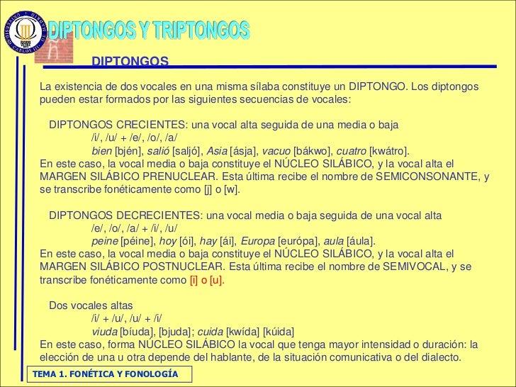 DIPTONGOS  La existencia de dos vocales en una misma sílaba constituye un DIPTONGO. Los diptongos  pueden estar formados p...