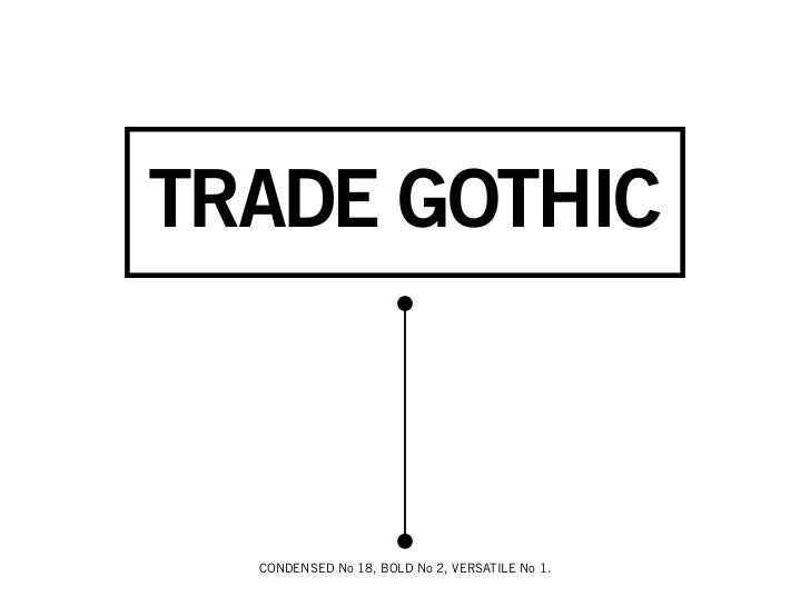 TRADE GOTHIC  CONDENSED No 18, BOLD No 2, VERSATILE No 1.