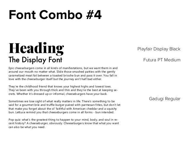 Font Combinations/Color Combinations