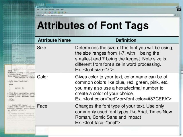 Font tags and attributes