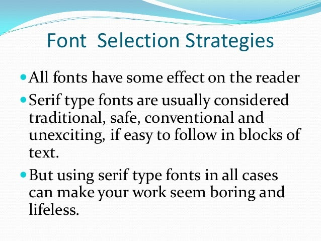 font selection strategies