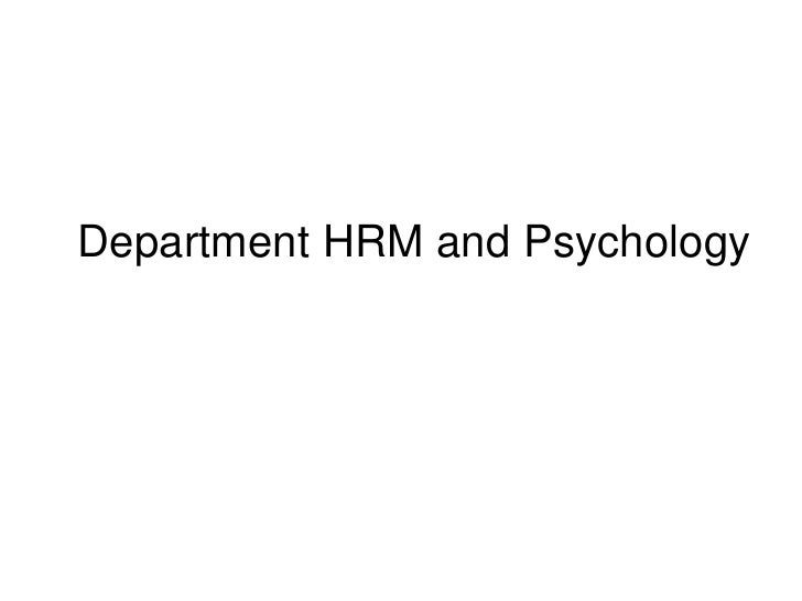 Department HRM and Psychology<br />