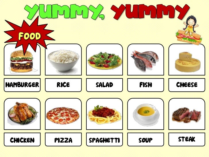 YUMMY, YUMMY<br />FOOD<br />HAMBURGER <br />RICE <br />SALAD <br />FISH <br />CHEESE <br />STEAK <br />CHICKEN <br />PIZZA...