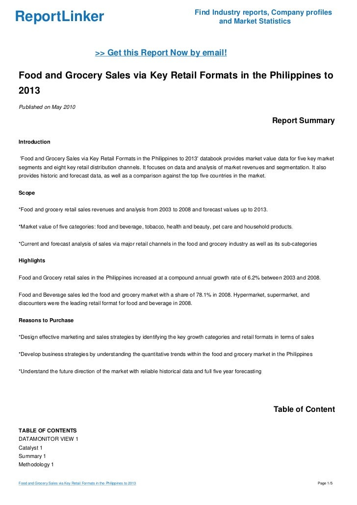 Food and Grocery Sales via Key Retail Formats in the