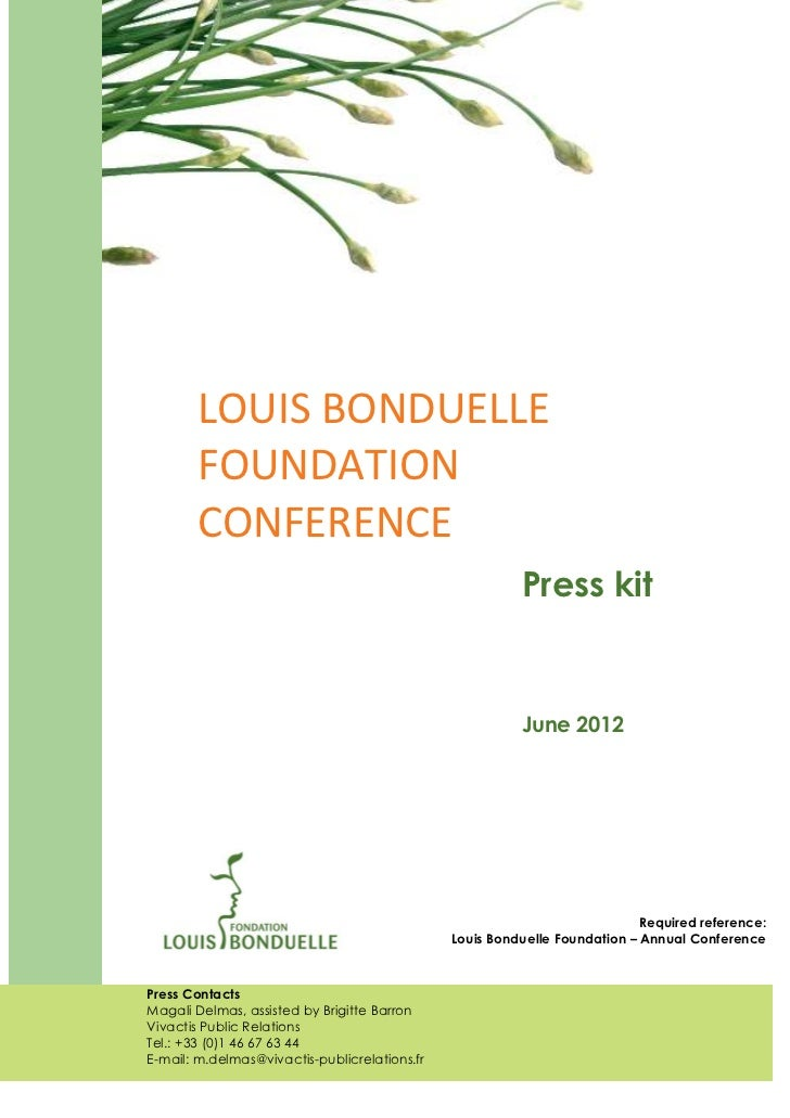 LOUIS BONDUELLE        FOUNDATION        CONFERENCE                                                         Press kit     ...