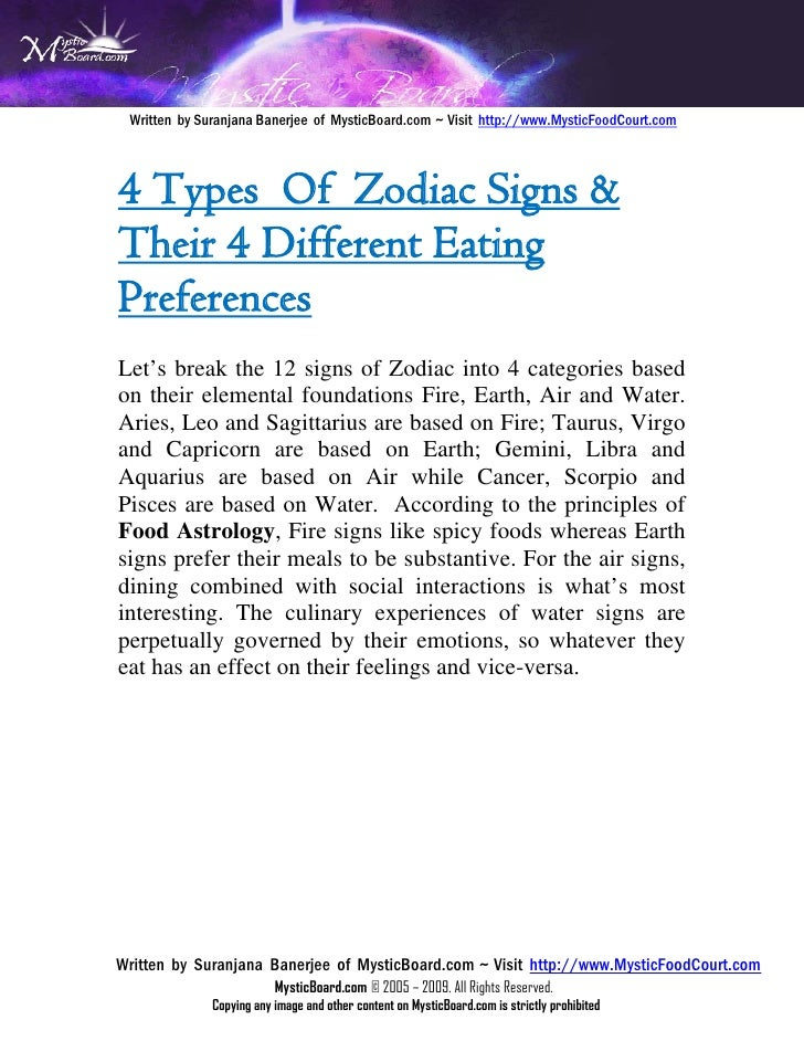 Food Astrology - How Zodiac Signs Determine Your Food