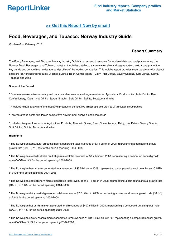 Food, Beverages, and Tobacco: Norway Industry Guide