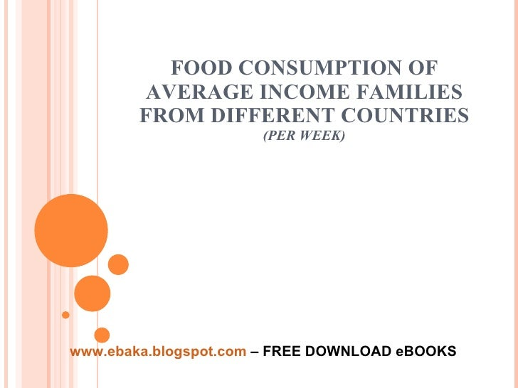 FOOD CONSUMPTION OF AVERAGE INCOME FAMILIES FROM DIFFERENT COUNTRIES (PER WEEK) www.ebaka.blogspot.com  – FREE DOWNLOAD eB...