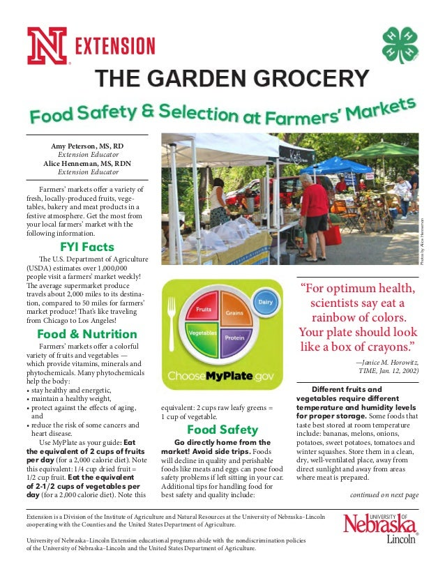 The Garden Grocery Food Safety and Selection at Farmers Markets