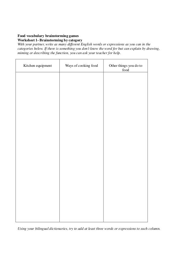 Food vocabulary brainstorming gamesWorksheet 1- Brainstorming by categoryWith your partner, write as many different Englis...