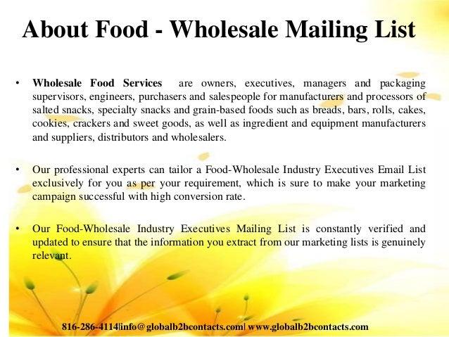 Food wholesale mailing list