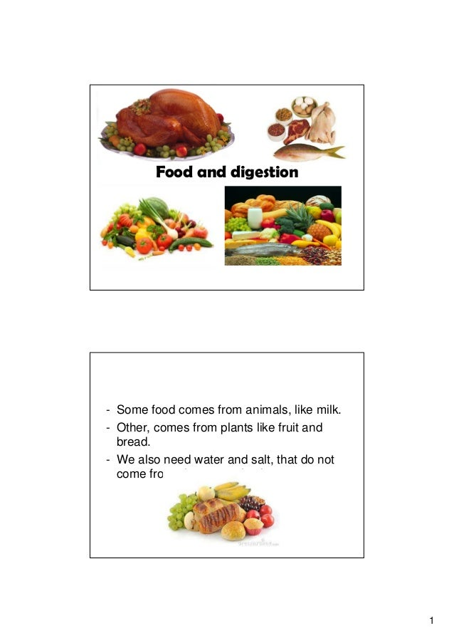 1 Food and digestion - Some food comes from animals, like milk. - Other, comes from plants like fruit and bread. - We also...