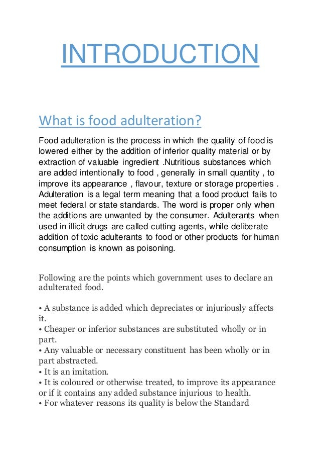 food adulteration in india and law In this article, ashima bhargava of amity law school lucknow discusses how to lodge a complaint about food adulteration when food products are adulterated, they bring down the nutritional.