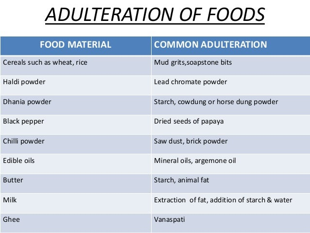 food adultration Abstract: food is one of the basic needs for every living being and very important  aspect for life but now day's foods are affected by different adulterants.